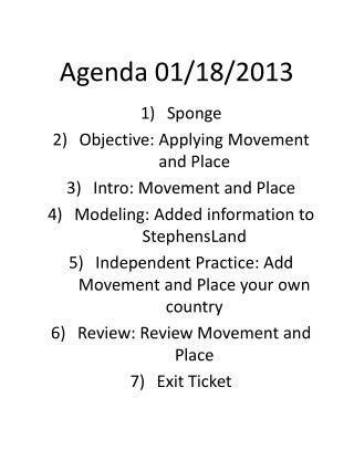 Agenda 01/18/2013