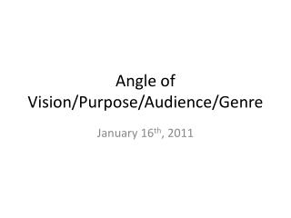 Angle of Vision/Purpose/Audience/Genre