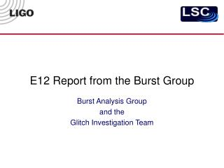 E12 Report from the Burst Group
