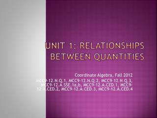 Unit 1: Relationships Between Quantities