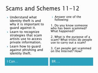 Scams and Schemes 11-12