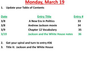 Monday ,  March  19