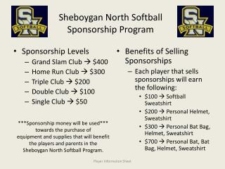 Sheboygan North Softball Sponsorship Program