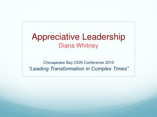 Appreciative Leadership Diana Whitney