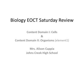 Biology EOCT Saturday Review