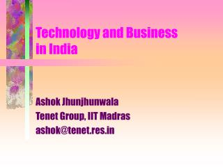 Technology and Business in India