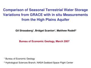 Comparison of Seasonal Terrestrial Water Storage Variations from GRACE with in situ Measurements from the High Plains Aq