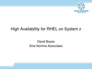 High  Availability for RHEL on System z