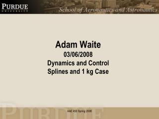 Adam Waite 03/06/2008 Dynamics and Control Splines and 1 kg Case