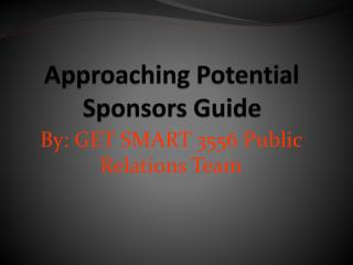 Approachi ng Potential  Sponsors Guide