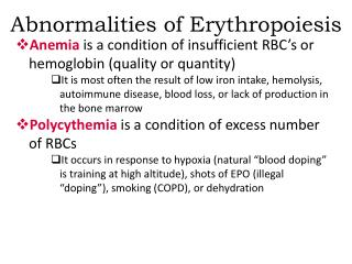Abnormalities of Erythropoiesis