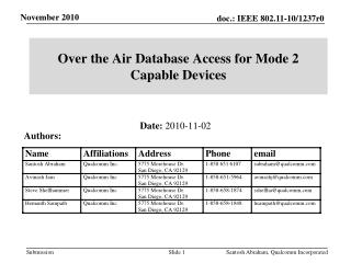 Over the Air Database Access for Mode 2 Capable  Devices
