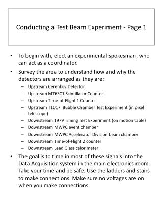 Conducting a  Test Beam Experiment - Page 1
