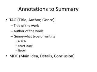 Annotations to Summary
