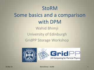 StoRM Some basics and a comparison with DPM