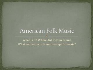 American Folk Music