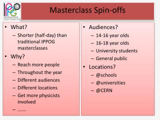 Masterclass  Spin-offs