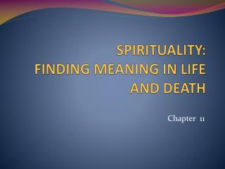 SPIRITUALITY: FINDING MEANING IN LIFE AND DEATH