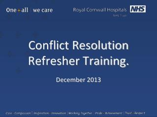 Conflict Resolution Refresher Training.