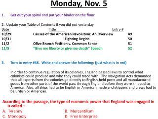 Monday ,  Nov.  5