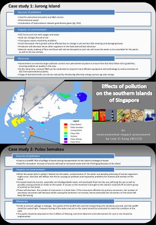 Effects of pollution  on the southern islands  of Singapore