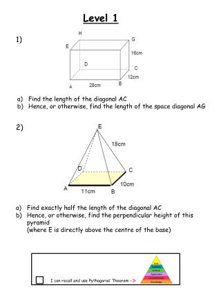 Find the length of the diagonal AC Hence, or otherwise, find the length of the space diagonal AG