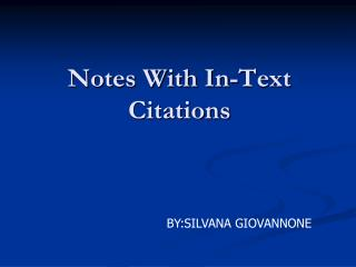 Notes With In-Text Citations