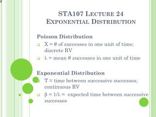 STA107  Lecture 24 Exponential Distribution