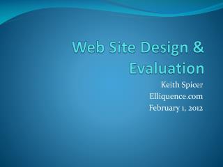 Web Site Design & Evaluation