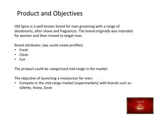 Product and Objectives
