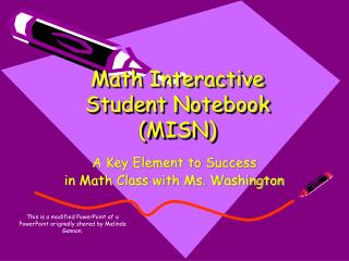 Math Interactive Student Notebook (MISN)