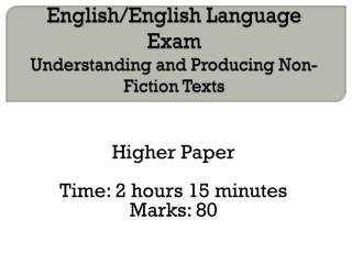 English/English Language Exam Understanding and Producing Non-Fiction Texts