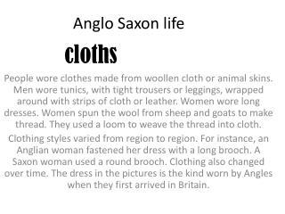 Anglo Saxon life
