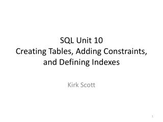 SQL  Unit 10 Creating  Tables, Adding Constraints, and Defining Indexes