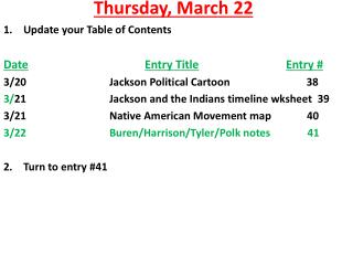 Thursday ,  March  22