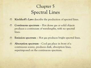 Chapter 5 Spectral Lines
