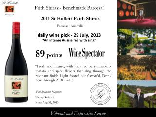 2011  St Hallett Faith  Shiraz Barossa, Australia