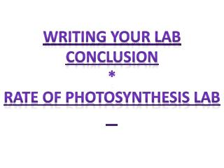 Writing Your Lab Conclusion * Rate of Photosynthesis Lab