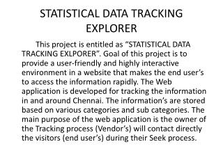 STATISTICAL DATA TRACKING EXPLORER
