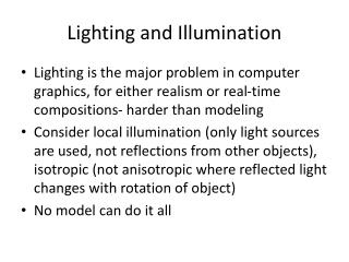 Lighting and Illumination