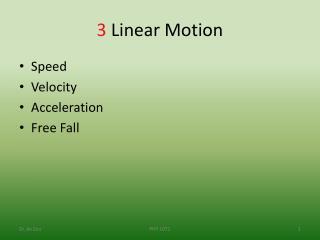 3  Linear Motion