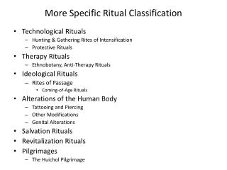 More Specific Ritual Classification