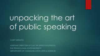 unpacking the art of public speaking