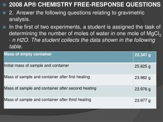 2008 AP® CHEMISTRY FREE-RESPONSE QUESTIONS