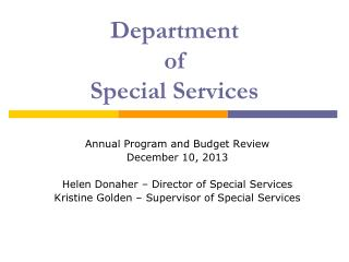 Department  of  Special Services