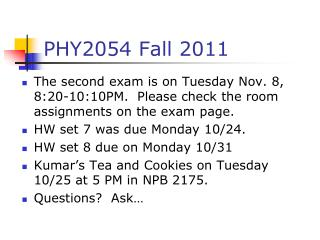 PHY2054 Fall 2011