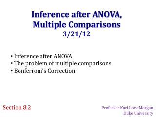 Inference after ANOVA, Multiple Comparisons 3/21/12