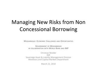 Managing  New Risks  from  Non Concessional Borrowing