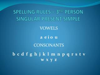 SPELLING RULES � 3 RD  PERSON  SINGULAR  PRESENT  SIMPLE