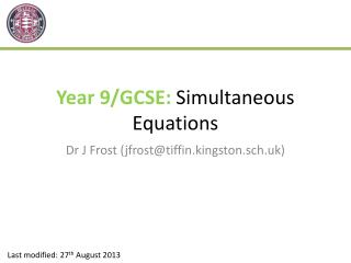 Year 9/GCSE:  Simultaneous Equations